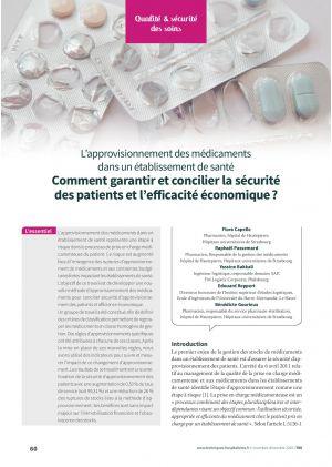 L'approvisionnement des médicaments dans un établissement de santé - Comment garantir et concilier la sécurité des patients et l'efficacité économique ?