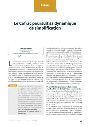 Le Cofrac poursuit sa dynamique de simplification