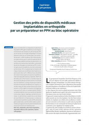 Gestion des prêts de dispositifs médicaux implantables en orthopédie par un préparateur en PPH au bloc opératoire