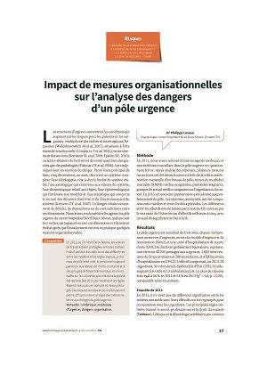 Impact de mesures organisationnelles sur l'analyse des dangers d'un pôle urgence