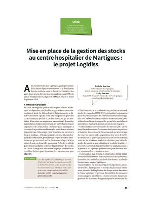 Mise en place de la gestion des stocks au centre hospitalier de Martigues : le projet Logidiss