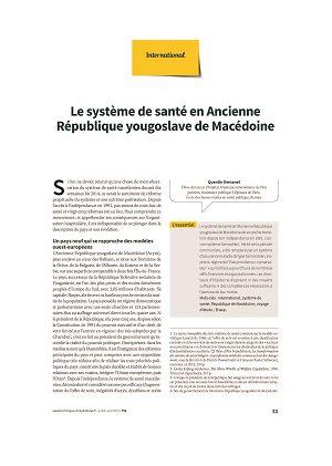 Le système de santé en Ancienne République yougoslave de Macédoine