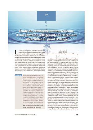Étude de l'efficacité antibactérienne d'une fontaine réfrigérante à traitement ultra-violet au point d'usage