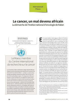 Le cancer, un mal devenu africain. La démarche de l'Institut national d'oncologie de Rabat
