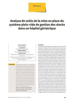 Analyse de coûts de la mise en place du système plein-vide de gestion des stocks dans un hôpital gériatrique